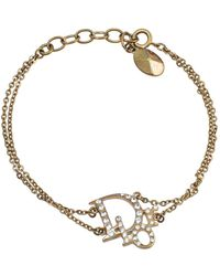 Dior Oblique Crystal Gold Tone Bracelet - Metallic