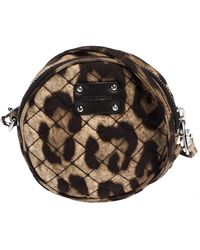 Dolce & Gabbana - Brown Leopard Print Fabric Micro Round Crossbody Bag - Lyst