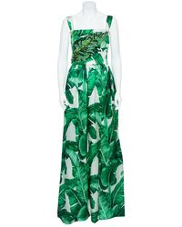 Dolce & Gabbana Green & White Palm Leaf Print Silk Embellished Gown