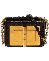 Tom Ford Metallic Black Python Mini Natalia Chain Shoulder Bag
