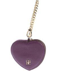 Carolina Herrera Purple Leather Coin Purse