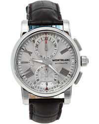 Montblanc Silver Stainless Steel & Leather Star 7104 Automatic Wristwatch 44 Mm - Metallic