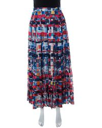 Chanel Multicolour Printed Cotton Pleated Maxi Skirt S - Blue