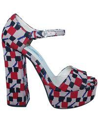 Prada Multi Fabric Sandals - Blue