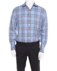 Tom Ford Blue Checked Cotton Long Sleeve Button Front Shirt