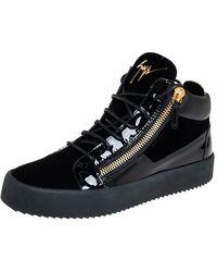 Giuseppe Zanotti Black Velvet And Patent Leather High Top Sneakers