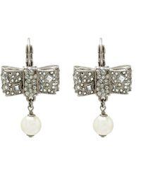 Chanel - Crystal Encrusted Bow Pearl Drop Earrings - Lyst