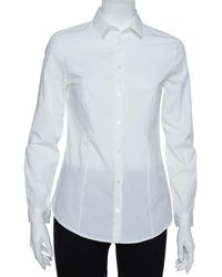 Burberry White Stretch Cotton Long Sleeve Button Front Shirt