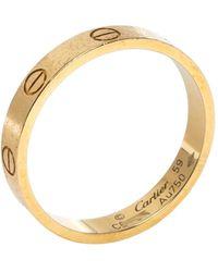 Cartier Love 18k Yellow Gold Wedding Band Ring 59 - Metallic