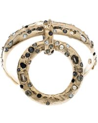 Chanel Multicolour Crystal And Faux Pearl Encrusted Hoop Pendant Bracelet - Metallic