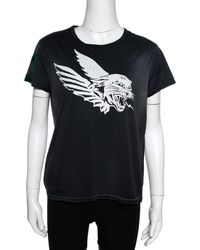 Givenchy Dark Grey Flying Cat Print Cotton Distressed T- Shirt
