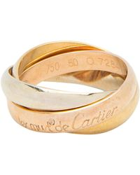 Cartier Les Must De Trinity Three Tone 18k Gold Band Ring Size 51 - Metallic