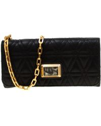 Marc By Marc Jacobs Black Quilted Leather Wallet On Chain