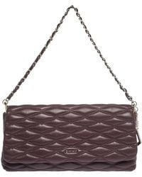 DKNY Burgundy Quilted Leather Flap Chain Clutch Bag - Purple