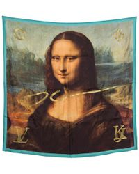 Louis Vuitton X Jeff Koons Monalisa Printed Silk Lurex Embroidered Square Scarf - Multicolour