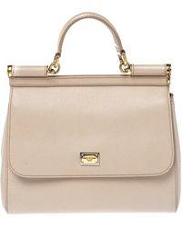 Dolce & Gabbana Beige Leather Medium Miss Sicily Top Handle Bag - Natural