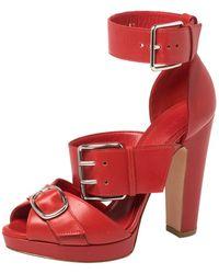 Alexander McQueen Red Leather Buckle Strappy Platform Sandals