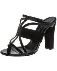 Oscar de la Renta Black Patent Leather And Suede Strappy Sandals