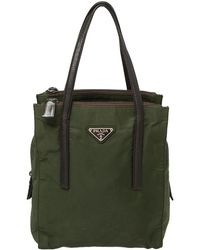 Prada Green Nylon And Leather Tote