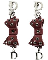 Dior Red Bow Patent Leather Silver Tone Drop Earrings
