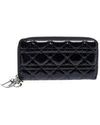 Dior Black Cannage Quilted Patent Leather Zip Around Lady Wallet