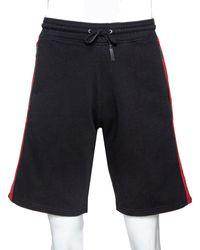 Givenchy Black Cotton Contrast Stripe Drawstring Waist Shorts