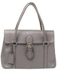 Fendi Grey Selleria Leather Linda Satchel