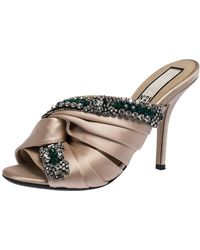 N°21 Beige Satin Embellished Cipria Mule Sandals - Natural