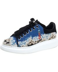 Alexander McQueen Multicolour Printed Canvas And Suede Oversized Sneakers - Blue
