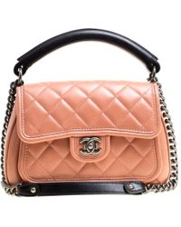 Chanel - Peach /black Quilted Leather Top Handle Flap Shoulder Bag - Lyst