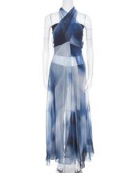 Chanel Blue Printed Silk Beach Cover Up M