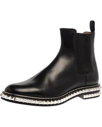 Christian Louboutin Black Leather River Studded Chelsea Ankle Boots