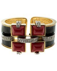 Roberto Cavalli - Art Deco Enamel Crystal Gold Tone Wide Cuff Bracelet - Lyst