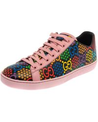 Gucci Multicolour Leather GG Psychedelic Ace Sneakers - Red