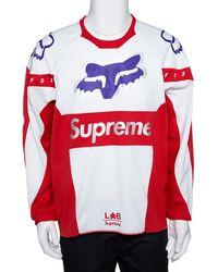 Supreme X Fox Red & White Racing Moto Jersey T-shirt L