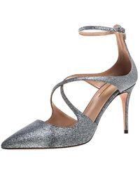 Aquazzura Silver Glitter Viviana Pumps - Metallic