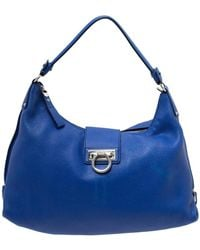 Ferragamo Blue Leather Fanisa Hobo