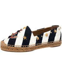 Dolce & Gabbana Blue/white Striped Brocade Fabric Star Studded Anchor Espadrilles