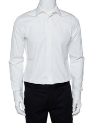Givenchy White Star Embroidered Cotton Button Front Shirt