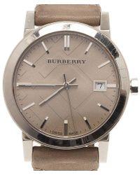 Burberry Cream Stainless Steel Heymarket Women's Wristwatch 38mm - Multicolor