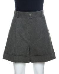 Chanel Dark Khaki Cotton Shorts M - Green