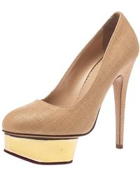 Charlotte Olympia Beige Raffia Dolly Platform Court Shoes - Natural