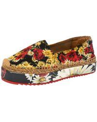Dolce & Gabbana Red Floral Printed Canvas Platform Espadrilles