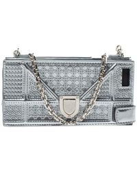 Dior Silver Canngae Patent Leather Ama Iphone 6/7 Case On Chain - Metallic