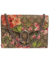 Gucci Multicolour GG Supreme Blooms Canvas And Leather Dionysus Wallet On Chain