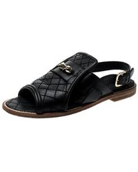 Chanel Black Quilted Leather Chain Link Flat Sandals