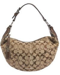 COACH Beige/brown Signature Canvas And Leather Hobo - Natural
