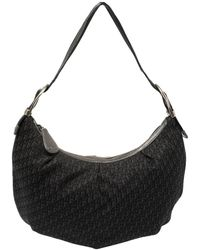 Dior Black Oblique Canvas And Leather Buckle Handle Hobo