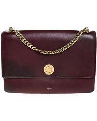 Céline Dark Burgundy Leather Flap Chain Shoulder Bag - Purple