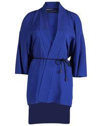 Roland Mouret Blue Roche Cold Shoulder Kimono Top S